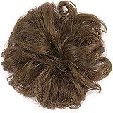 Hilai 1 PC Ondulé Bouclés Désordonnés Cheveux Chun Extensions Chouchou Chignon Cheveux Ruban De Cheveux Ruban De Queue De Cheval Extensions de Cheveux(Light Brown)
