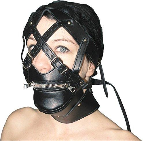 Maske mit Mund-Reißverschluss und Schnallen abschließbar -
