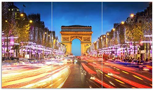 Glas 3-licht-arc (Wallario Herdabdeckplatte/Spritzschutz aus Glas, 3-teilig, 90x52cm, für Ceran- und Induktionsherde, Arc de Triomphe in Paris bei Nacht)