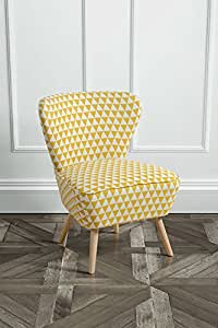 MY-Furniture - 1 x Fauteuil d'appoint Retro DELILAH tapiss?, motif triangles jaune
