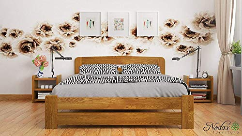 "New Double Solid Wooden Pine Bedframe""F1"" with slats (4ft6in, oak)"