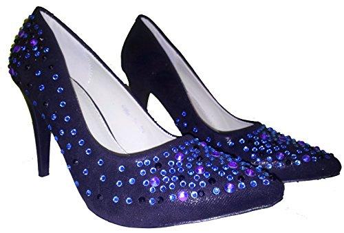 Talons hauts, Stiletto Pumps High Heels, vert, rouge, bleu, beige, rose, noir, pink avec des paillettes, chaussures femme, escarpins, modèle 11034102087007, plusieurs modèles et tailles. Noir modèle C.