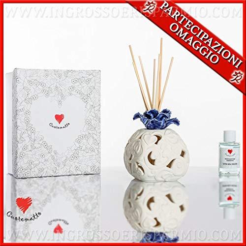 Cuorematto - diffusore di essenze bianco con fiore blu in porcellana, in due dimensioni, bomboniere solidali nozze, battesimo, con scatola regalo inclusa (grande-con confezione bianca)
