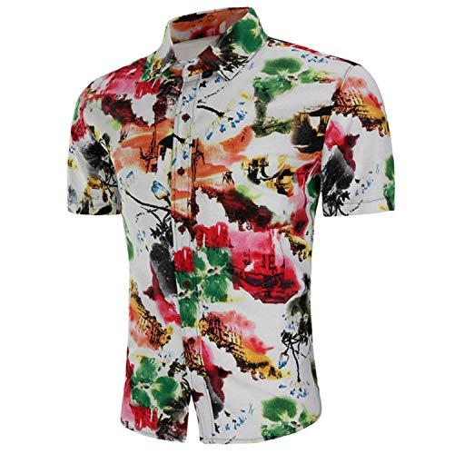 Chinese Style Ink Paint Drucken Shirt Men Summer Kurzarm Dress Shirts Mens Casual Slim Fit Hawaiian Shirt Male Chemise (Hawaiian Shirt Boot)