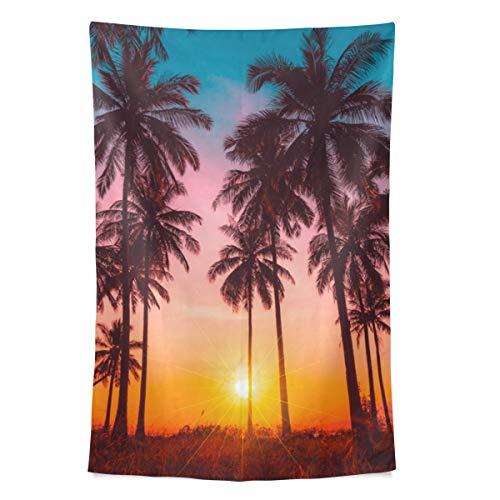 Sonnenuntergang Silhouette Kokosnuss Meer Wandteppich Wandbehang Cool Post Print für Wohnheim Home Wohnzimmer Schlafzimmer Tagesdecke Picknick Bettlaken 80 X 60 Zoll -