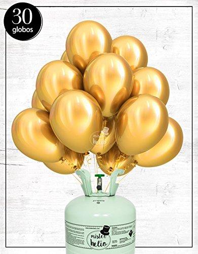 Bombona de helio Mister helio + Globos látex dorados