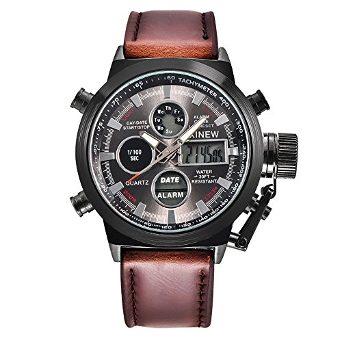 IG-Invictus Herren Quarz Sport Military Army LED Uhren Analog Edelstahl Armbanduhr XINEW Leder Kalender Uhr