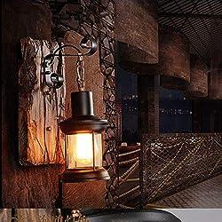 Retro Wandleuchte Vintage Industrielle Holz Wandbeleuchtung Metall Glas Innenwandleuchte E27 Fassung Rustikal Wandleuchte Antik Wohnzimmer Wandlampe Style Loft Bar Café Restaurant Schlafzimmer
