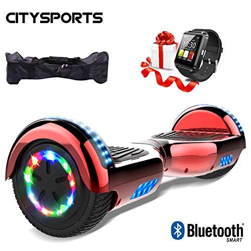 CITYSPORTS Hoverboard 6.5 Pulgadas + Hoverkart, Self Balance Scooter Patinete Eléctrico, Ruedas de Led Luces, Bluetooth, Motor 700W