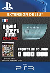 Grand Theft Auto Online | GTA V Megalodon Cash Card | 8,000,000 GTA-Dollars | Code Jeu PS3 - Compte français