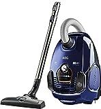 AEG VX7-2-DB Bodenstaubsauger (nur 70 dB(A), Aktionsradius von 12 Metern,  ideal für Allergiker,  360° Motion Technology Rollen, 650 W) dunkel Blau
