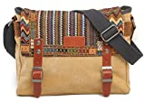 KISS GOLD(TM) Herren Canvas Umhängetasche Messenger bag mit Stammesstil Khaki