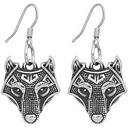 Nórdico Vikingo Nórdico Pequeño amuleto runa Lobo Cabeza Acero inoxidable aretes para mujer con valknut regalo bolso