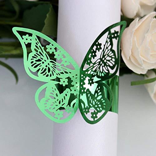KOIYOI 50 Teile/Satz Schmetterling Stil Laser Cut Papierserviettenringe servietten Holdersel Hochzeit Gefälligkeiten Tischdekoration, Grün, Grün