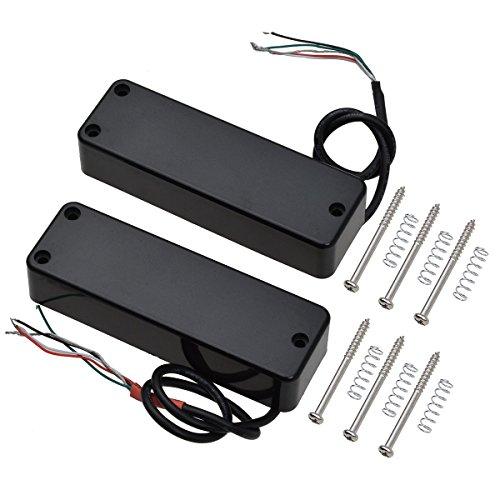 Elektrische Spule (Kmise 4 Schnur-elektrische Bass-Gitarren-Pickups Humbucker Doppelt-Spulen-Brücke und Hals-Set Parts Ersatz Schwarz)