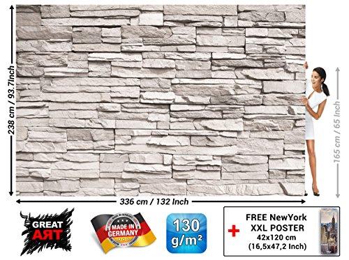Fotomurales White Stonewall - Decorazioni pareti Carta da parati pietra 3d Muro di pietra Rivestimento per pareti Effetto muro bianco Parete in pietra Muro in pietra I by GREAT ART (336 x 238 cm)