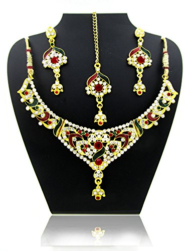 Neckles set For Women & Girls.GOLD Plated Australian Diamond Choker Necklace With Earrings Set For Womesn from JewelTech. High Quality Crystal Clear Rhinestone & Enamel. Suitable For Wedding, Festival, Traditional & Daily Wear. Premium Quality Metal Used & Precise Finishing.  available at amazon for Rs.110