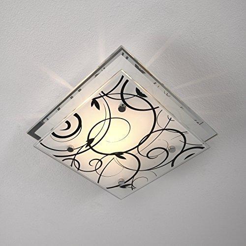 PLAFONIERA moderna con decorazioni in vetro lampada da soffitto illuminazione con lampadina 22 cm x 22