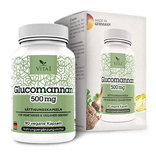 Glucomannano 500mg di VITA1 • 90 capsule di saturazione (fornitura per 2 settimane) • soppressore dell'appetito vegano dalla radice di konjac • Fatto in Germania