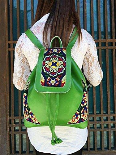 Meine Damen national wind Leder bestickt Umhängetaschen elegante Rucksack Taschen, orange-rot Green