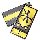Panegy Herren Krawatten Set mit ManschettenKnöpfe Einstecktuch fröhliche Farben Krawatte einfache Krawatten Business Schlips - Gelb