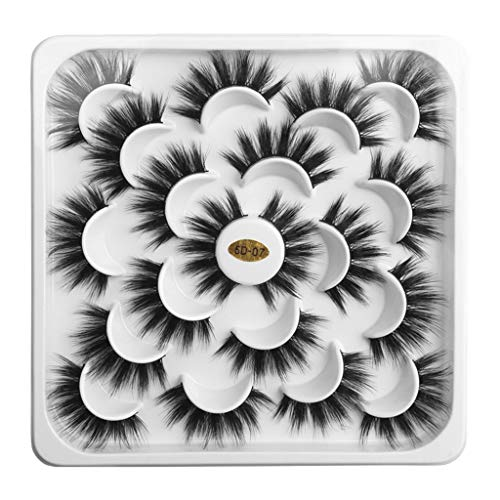 Kashyk 10pair Lotus mit 5D Nerz falsche Wimpern, natürliche Wimpern, Make-up, Wilde Wimpern (B Style)