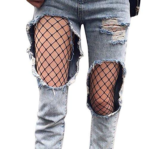 SuperSU Frauen Sexy Strumpfwaren Schwarz Netzstrumpfhose High Taille Damen Fischnetz Elastische Oberschenkel Hohe Strümpfe Strumpfhosen Stockings Pantyhose Feinstrumpfhose Clubwear (B, 88cm)