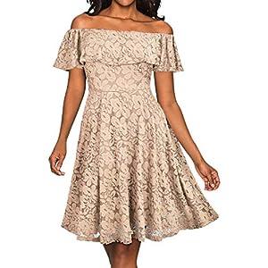 FeiBeauty Damen Schmetterlingshülse Sexy Spitze-Schulterfrei Schulter-ChiffonKleid Abschlussball-Kleid Abendkleider Partykleid Beige Schwarz Blau Lila Wein(S-XL)