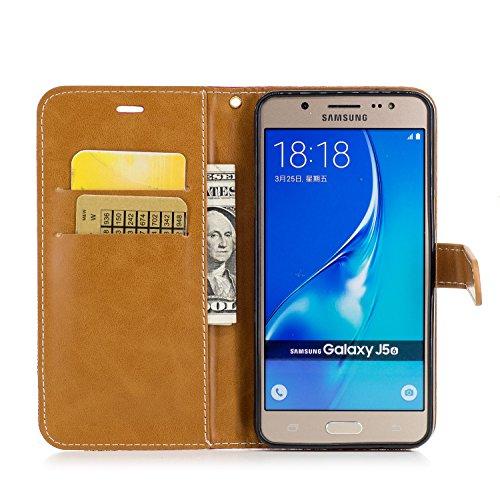 Hülle für Samsung Galaxy J5 2016, Tasche für Samsung Galaxy J5 2016, Case Cover für Samsung Galaxy J5 2016, ISAKEN Farbig Blank Muster Folio PU Leder Flip Cover Brieftasche Geldbörse Wallet Case Leder Leinen Rot