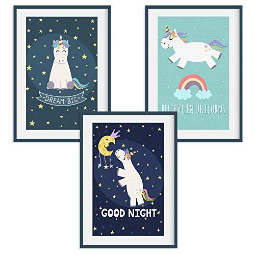 HappyWords® 3er Bilder Set - DIN A4 ohne Bilderrahmen | Bilder für Kinderzimmer & Bilder Babyzimmer | Junge Mädchen Baby | Kinder-Poster | Tiere Kinderbilder Kinderzimmer | 3er Set Einhorn Nacht
