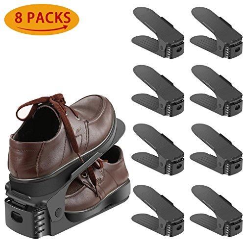 Schuhstapler / Schuhhalter - 8er Set Schuh Slots Verstellbare Schuheorganizer für Schrank Schuhstapler Schuhkollektor Schuh Stapler, Plastik Doppel Schicht Space Saver Ablagegestelle Halte - Space Saver Wasser