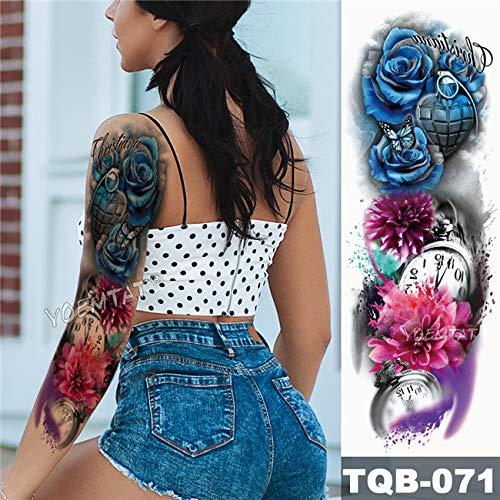 Handaxian 3pcsBig Arm Ärmel Tattoo Familie Zeit wasserdicht Tattoo Aufkleber Rose mechanische Uhr Männer Aufkleber