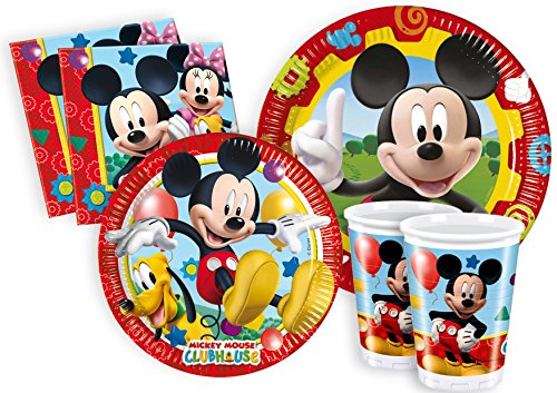 Image of Ciao Y2495 Party Table Mickey Mouse Club House Kit for 24 People (112 Items: 24 x Large Plates, 24 x Medium Plates, 24 x Cups, 40 x Napkins)