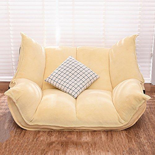L-R-S-F Faule Sofa Einzigen Faltbare Wohnzimmer Stoff Kleine Wohnung Schlafzimmer Double Casual TV Stuhl ( Farbe : Yellow (coral velvet) )