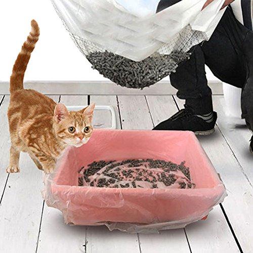 Longwu Cat Tamisage Litière pour chat Sacs, élastique Cat Poêle Liners-free vos mains. 10 graines