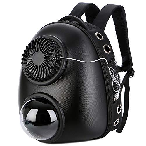 Zhao Li Im freien Pet Bag - Vented Space Capsule Pet Pack - Outing-Tragetasche, Reiserucksack Großes, doppeltes Loch mit Ventilator - @ (Color : Black) (Computer-ventilator-mesh)