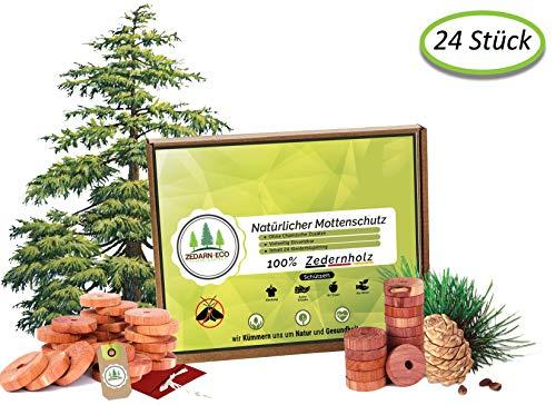 zedaren-eco 24x 100% Natürlicher Mottenschutz aus Zedernholz Umweltfreundliche Mottenfalle für den Kleiderschrank und Schuhe Chemiefreie Mottenabwehr Langlebiger Schutz vor Kleidermotten
