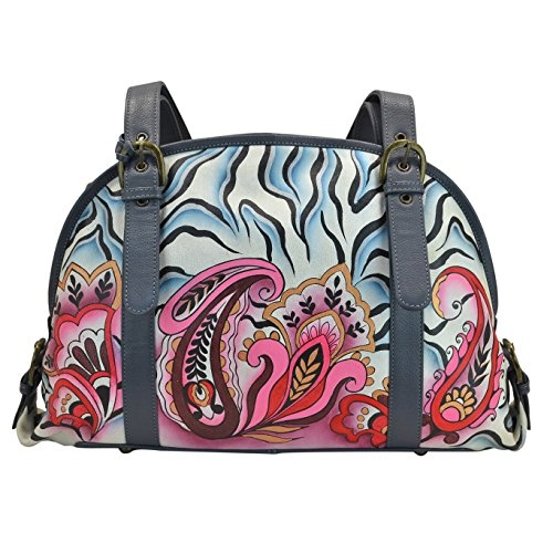 Anuschka-Hand-Painted-Designer-Leather-Handbags-for-Women--Christmas-Gifts-Zip-Round-leather-satchel-Zebra-Paisley-7205-ZPY
