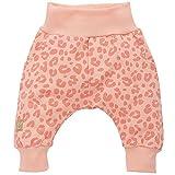 Pinokio - Sweet Panther - Baby Hose Girls Baumwolle- Leoparden Muster Apricot Koral Lachs Rose - Jogginghose, Haremshose Pumphose Schlupfhose- elastischer Bund, Mädchen (68)
