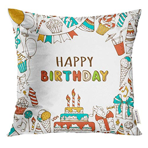 w Cover Happy Birthday Sweets Party Blowouts Hats Boxes and Bows Garlands Balloons Music Notes Firework Candles Decorative Pillow Case Home Decor Square 18x18 Inches Pillowcase ()