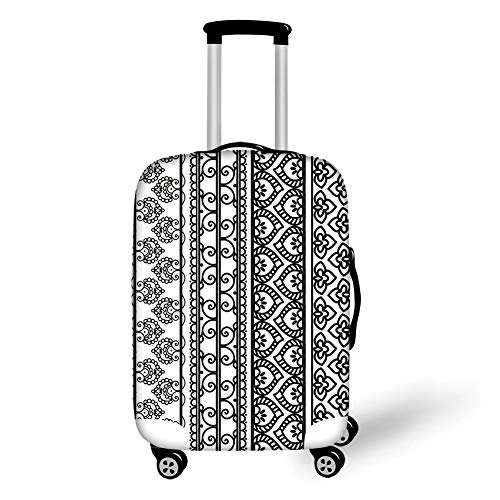 Travel Luggage Cover Suitcase Protector,Henna,Old Vintage Swirls Leaf Figures Abstract Artistic Composition with Vertical Borders Decorative,Black White,for Travels 19x27.5Inch -