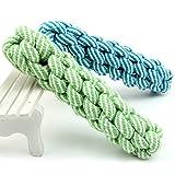 Pentaton Hundespielzeug Kauspielzeug Spielseil Spieltau für Hunde Baumwollraupe Baumwollknochen Wurfspielzeug aus Baumwolle, geflochten, zur Zahnreinigung (Grün)