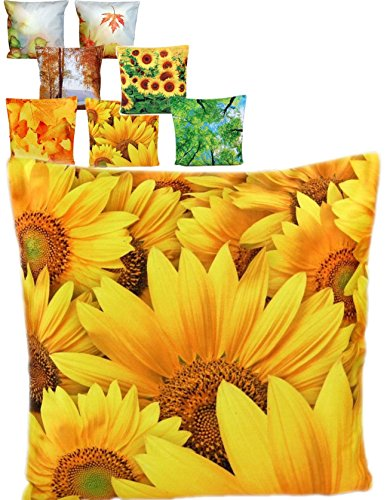Dekorative Sonnenblumen-kissen (weiche KISSENHÜLLE 40x40 cm Sonnenblumen Kurzvelours Polyester Dekokissen Kissenbezug TREND FOTOprint Kissen Frühling Sommer Herbst (Sonnenblumen groß gelb))