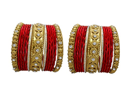 My Design Red Designer Bridal Bangles Choora Wedding Chura(Size-1.14)