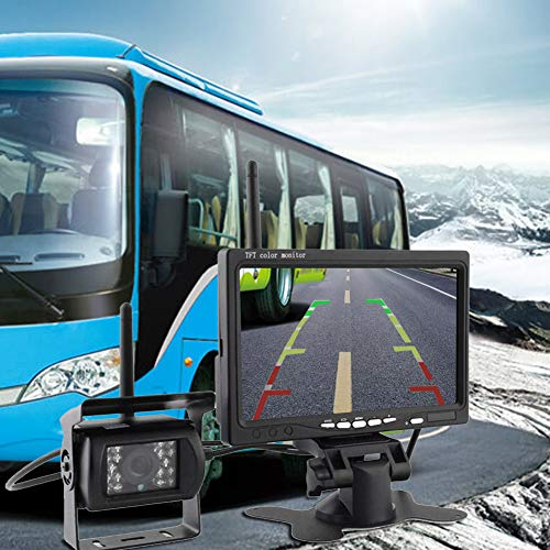 Drahtloses Rückfahrkamera-System, wasserdichte drahtlose Kfz-Kennzeichen-Rückfahrkamera mit 7 Zoll HD Monitor IP68 imprägniern Infrarotnachtsicht-Funktion für Bus, Anhänger, RV, LKWs, Ladung Van -