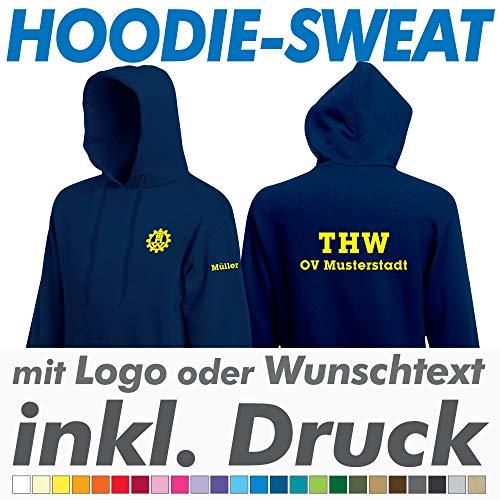 hanse graphics THW Hoodie Sweatshirt, Navy, Fruit of The Loom, inkl. Ihrem Wunschtext/Logo Druck Werbedruck