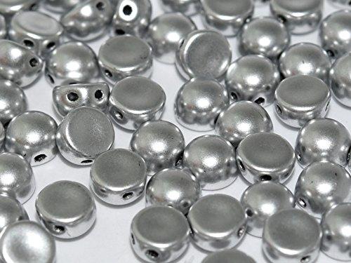 25pcs Cabochon Bead - Ceco pressato Perline di vetro in forma di Emisfero 6x4 mm con 2 fori alla base del perlina, Crystal Bronze Aluminum (Silver Matte)