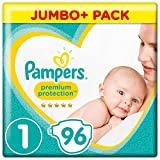 Pampers New Baby – Pañales, talla 1, 2 a 5 kg, pack de 96