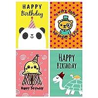 12 Fun Cartoon Animal Design, Panda, Turtle, Octopus, Bear Birthday Cards & Envelopes Made in UK