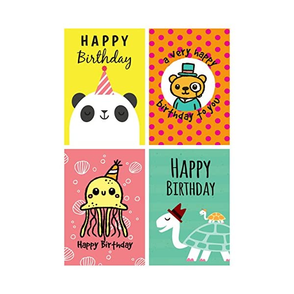 12 Fun Cartoon Animal Design, Panda, Turtle, Octopus, Bear Birthday Cards & Envelopes Made in UK 51 2BRCapGQ1L